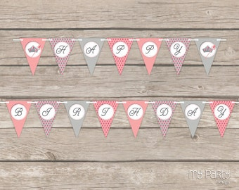 Princess Party - Happy Birthday Banner - Pink and Grey - INSTANT DOWNLOAD - Printable PDF