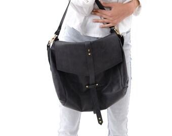 Soft Black Leather Bag, Boho Style Leather Hobo Handbag, Unique Everyday Black Sack Bag Carryall Purse