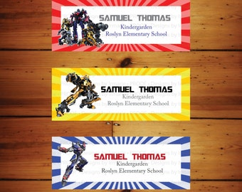 Transformers Back to School Labels