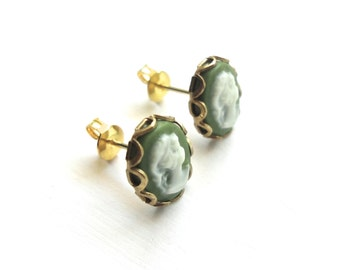 Green Cameo Stud Earrings - Vintage Inspired Post Jewelry