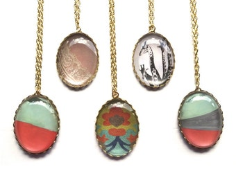 Pendant Necklaces - Glass Ovals on Long Gold Chain