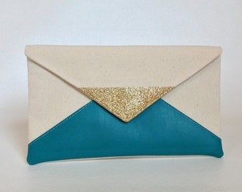Turquoise glitter clutch, bridesmaid clutch, bridesmaid gift, wedding gift, wedding clutch, teal clutch, clutch purse, gift for her