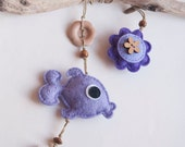 Felt fish bookmark with  flower and heart in lavender and violet