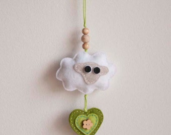 White sheep felt ornament