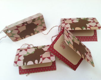Rudolph Christmas Gift Tag, Reindeer Christmas Gift Tag, Handmade Gift Tag, Holiday Gift Tag, Holiday Tag, Christmas Embellishment, 4pc set