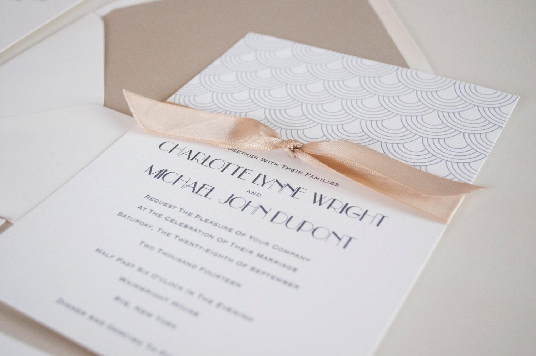 Great Gatsby Wedding Invitation: Great Gatsby Wedding Invitation Gray Black And Champagne