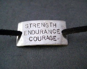 STRENGTH ENDURANCE COURAGE Wrap Bracelet  - Inspirational Jewelry - Nickel Silver Pendant on 3 feet of Micro Fiber Suede - Shoe Lace Charm