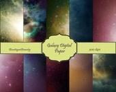 Galaxy Digital Scrapbook Paper Pack -INSTANT DOWNLOAD- 10 printable digital papers - 12 X 12 (set 150)