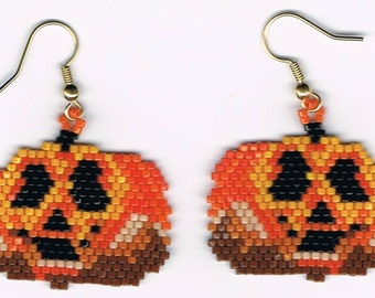 Hand Beaded Jack O Lantern Pumpkin #1 earrings