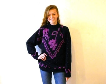 1980s Sweater / Oversize Sweater / Chunky Sweater / Pullover Navy Purple M