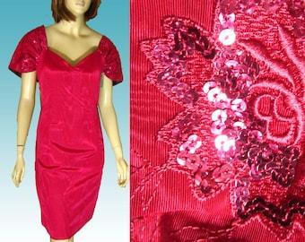 80s SCOTT McCLINTOCK Cocktail Dress UNWORN Shawl Collar Sequins Voile Fuschia Bust 39