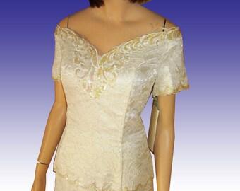 70s JESSICA McCLNTOCK Lace Sequins Off-Shoulder Dress Overlay Bodice UNWORN Orig tags Bust 37