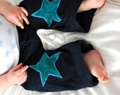 SALE - Blue toddler trousers 4-5yrs corduroy dark navy little star applique custom pantaloni casual kids style knee bum stars
