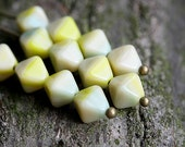 Sage Green bicones, Czech Glass beads, mixed color with blue and beige - 6mm - 30Pc - 1124