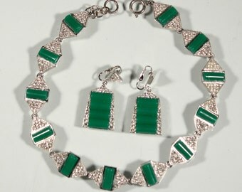 K. J. LANE Vintage 80s Necklace Pendant Earrings Set Chromium Plastic Art Deco Revival Jewelry