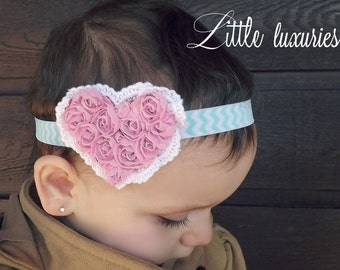 Mint to Be - Pink Chiffon and Lace Heart Headband,  Mint Chevron Headband, Valentine Headband, Heart Headband