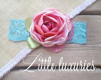 Tiddlywinks - Pink , Aqua,  Satin Flower Headband, Baby Pink and  Aqua, Satin and Lace Headband, Satin Peony Flower,  M2M