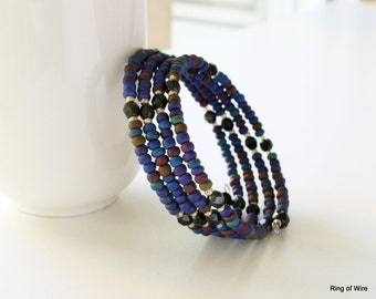 CLEARANCE Purple Bead Bracelet, Black Bead Bracelet, Blue Bead Bracelet, Seed Bead Bracelet, Wire Wrap Bracelet, Memory Wire Bracelet