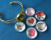 Choice of Photo, Glass Cabochon, Gold Cuff, Heart Bracelets! Or Your OWN Photo! Adjustable Cuff Bracelets, Heart Bracelets, Valentine Gifts