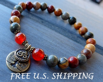 Celebrate life Picasso jasper, Carnelian with Om and Tree of life, Yoga Bracelet, Meditation bracelet, Reiki Charged, free shipping