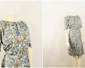 Vintage Dress 50s 60s Floral Empire Waist Metal Zipper Plus Size Gray & Teal Day Dress Size XXL 1X 2X