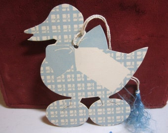 Adorable 1930's Norcross die cut bridge tally blue plaid duck for a baby shower