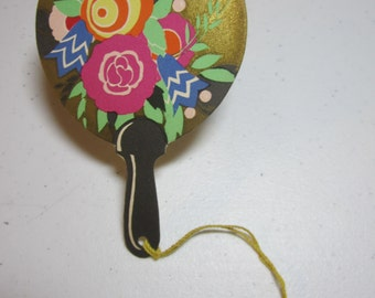 Colorful unused 1920's art deco die cut Buzza fan shaped bridge tally card stylized deco flowers