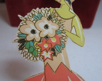 Gorgeous art deco 1920's unused Gold gilded die cut Buzza place card lady in deco dress and matching hat holding a huge bouquet of flowers