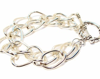 Bracelet with Chic and Sassy Double Strand Twisted Silver Cable Chain and Toggle Clasp