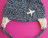 Aviator style crochet  baby hat with ear flaps and plane