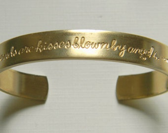 Friendship Cuff Bracelet, Friends are Kisses, Sentiment Cuff, Etched Cuff, Raw Brass Cuff, Oval Cuff Bracelet, 10mm - 1 pc. (r236)