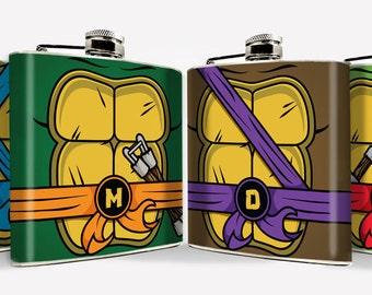 Groomsmen Superhero Turtles Hip Flask Set  Hip Flask 6oz flask Mens Flask Comic Cartoon Groomsmen Gift