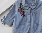 Shabby chic jacket, S,Boho blazer S, denim jacket, cowgirl blazer, Anthropologic blazer, teal jacket blazer,