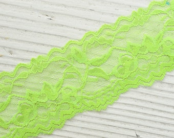 "Elastic Lace - LIME GREEN - 2"" Elastic Lace - Stretch Lace Trim - Wide Elastic Lace by the Yard - 2"" Lace - 2 inch Elastic Lace Yardage"