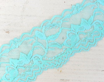"Stretch Lace - AQUA - 2"" Elastic Lace - Stretch Lace Trim - Elastic Lace by the Yard - 2"" Lace - 2 inch Elastic Lace Yardage - Wide Lace"