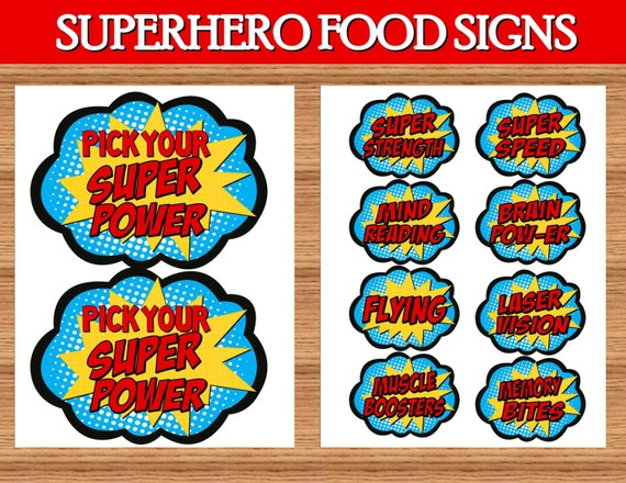 Superhero Birthday Party Food Labels Superhero