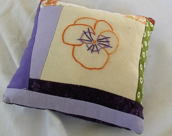 Pincushion hand made, mini pillow, embroidered poppy