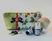 Green Dragonfly Print Make up Bag