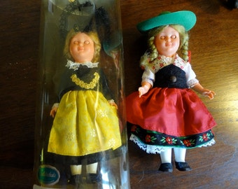 Two Vintage German Celluloid Type Dolls By Goldschatz - With Sleep Eyes and Movable Arms - REDUCED