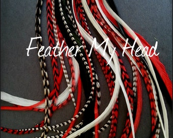 "Super Long 11""-14""  Feather Hair Extension, Whiting Eurohackle, Do It Yourself W/Beads, Pulling, Wire, Instructions"