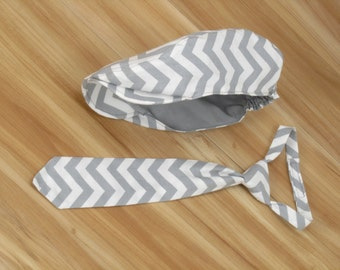 Baby Boy Clothing: Gray White Chevron Newsboy Hat and Necktie for Baby or Toddlers, Baby Boy Photo Prop, chevron cake smash