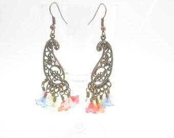 Brass Paisley Rainbow Flower Chandelier Earrings