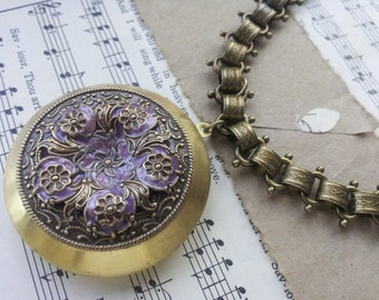 Victorian Style Flower filigree Locket Bookchain Necklace in Purple / Lilac