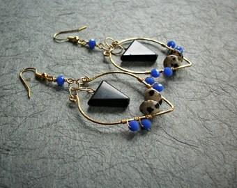 Mixed Stone Beaded Hoop Earrings / boho earrings