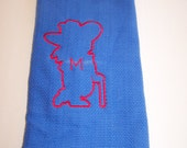 Extra Large Blue Dish Bar Towel Red Embroidered Rebel Inspired Ready Ship