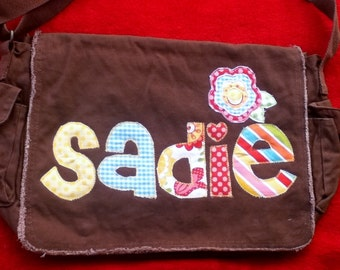 Large Raw Edge Messenger Diaper Bag with Raggy Flower Applique- Pink, turquoise, lime, yellow, red