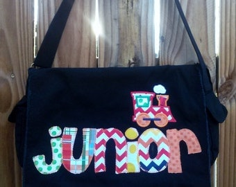 Large Raw Edge Messenger Bag or Diaper Bag with Personalized Applique Name and Train