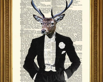 """Dictionary Art Print DINNER PARTY DEER: Stylish Stag in White Tie - Vintage Antique Wall Decal Art Print (8 x 10"""")"""