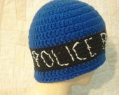 Police box hat, police box beanie, royal blue fitted beanie, unisex hat, teen to adult size, easy care, royal blue beanie, royal blue hat