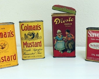 Set of Tins Dutch Cocoa Colemans Mustard Schilling Savory